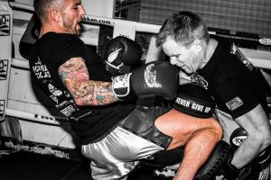 A photo of Liam Harrison training at one of the best UK Muay Thai Gyms Bad Company