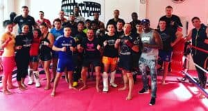 A photo of a group of fighters after training in the Colosseum Gym