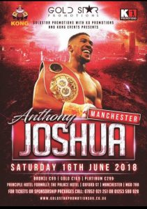 A poster featuring a photo of World Boxing Champion Anthony Joshua
