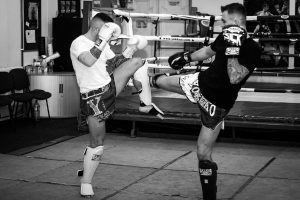 A photo showing the style of Liam Harrison Muay Thai to be found at his upcoming seminar