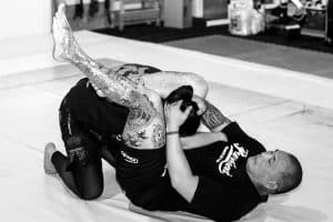 A photo of Enson Inoue finishing the triangle as a demonstration for the Warrior Collective