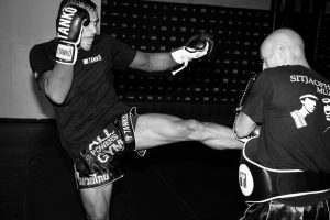 Muay Thai Drills on How to Kick as demonstrated on the pads by Panicos Yusuf