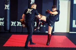 A photo of Hicham Gaoui training Elite Kickboxing in the Dutch Style with Mohammed Jaraya