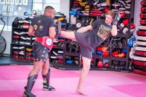 A photo of Greg Wootton demonstrating advanced muay thai drills