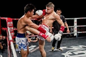 A photo of Damien Alamos Muay Thai fighting in Thailand