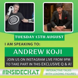 A photo of Andrew Koji from the Instagram Live #InsideChat Series