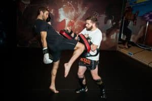 A photo of Greg Wootton demonstrating Adaptive Striking whilst developing World Class Muay Thai