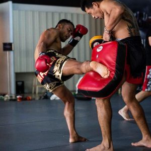 A photo of a fighter on a training camp at Evolve MMA in Singapore
