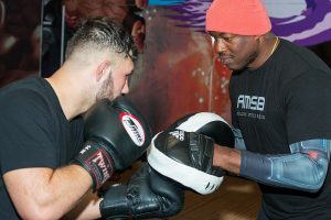 A photo of Barry Robinson training how to punch harder and faster for world level boxing