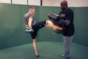 A photo of Barry Robinson training World Class Fighters in MMA Striking