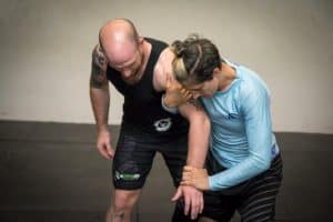 A photo of Sophie Cox demonstrating Judo throws from John Wick