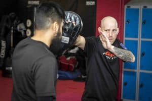 A photo of Jamie Goulding Punching for his Karate for MMA Mastering Fast Kicks volume