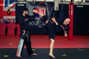 A photo of Jamie Goulding Kicking for his Karate for MMA Mastering Fast Kicks volume